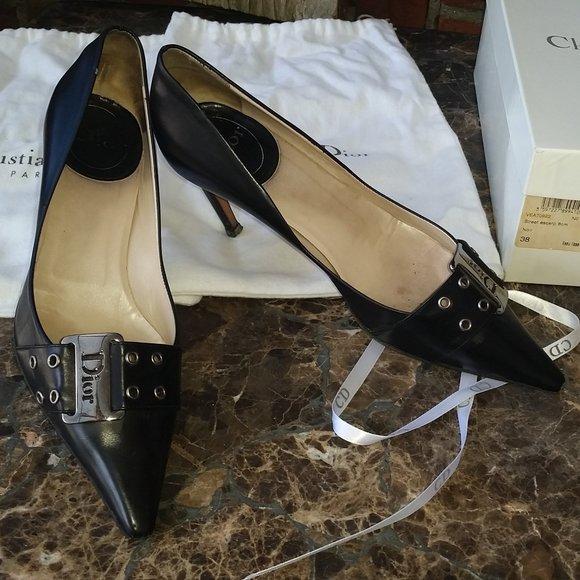 Christian Dior Shoes Black Leather Pumps heels 8